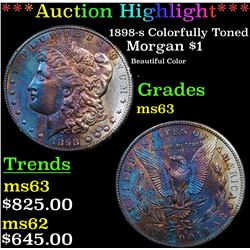 ***Auction Highlight*** 1898-s Colorfully Toned Morgan Dollar $1 Grades Select Unc (fc)