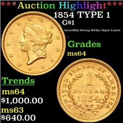 ***Auction Highlight*** 1854 TYPE 1 Gold Dollar $1 Grades Choice Unc (fc)