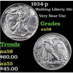 1934-p Walking Liberty Half Dollar 50c Grades Choice AU/BU Slider