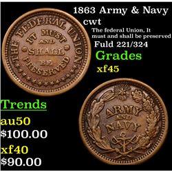 1863 Army & Navy Civil War Token 1c Grades xf+