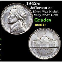 1942-s Jefferson Nickel 5c Grades Choice+ Unc