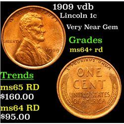 1909 vdb Lincoln Cent 1c Grades Choice+ Unc RD