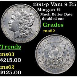 1891-p Vam 9 R5 Morgan Dollar $1 Grades Select Unc