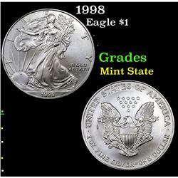1998 Silver Eagle Dollar $1 Grades Mint State