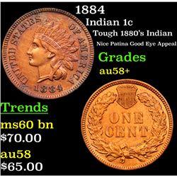 1884 Indian Cent 1c Grades Choice AU/BU Slider+