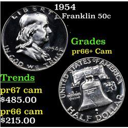 Proof 1954 Franklin Half Dollar 50c Grades GEM++ Proof Cameo