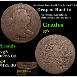 1803 Small Date Small Frac Breen-VII R3 Draped Bust 1c Grades g+