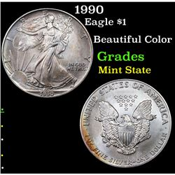 1990 Silver Eagle Dollar $1 Grades Mint State