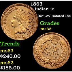 1863 Indian Cent 1c Grades Select Unc