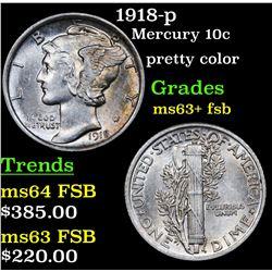 1918-p Mercury Dime 10c Grades Select Unc+ FSB