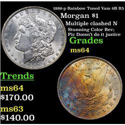 1886-p Rainbow Toned Vam 6B R5 Morgan Dollar $1 Grades Choice Unc
