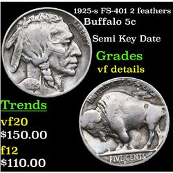 1925-s FS-401 2 feathers Buffalo Nickel 5c Grades vf details