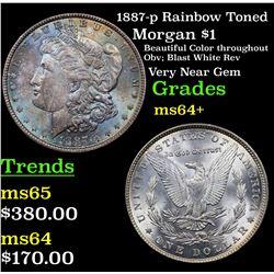 1887-p Rainbow Toned Morgan Dollar $1 Grades Choice+ Unc