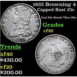 1835 Browning 4 Capped Bust Quarter 25c Grades vf++