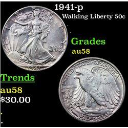 1941-p Walking Liberty Half Dollar 50c Grades Choice AU/BU Slider