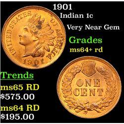 1901 Indian Cent 1c Grades Choice+ Unc RD