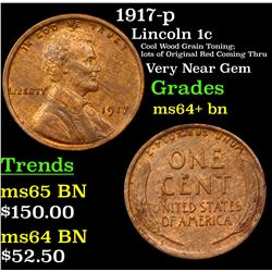 1917-p Lincoln Cent 1c Grades Choice+ Unc BN