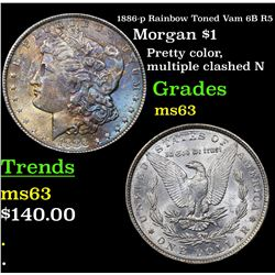 1886-p Rainbow Toned Vam 6B R5 Morgan Dollar $1 Grades Select Unc