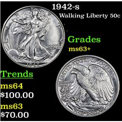 1942-s Walking Liberty Half Dollar 50c Grades Select+ Unc