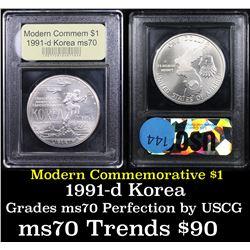 1991-d Korean War Modern Commem Dollar $1 Graded ms70, Perfection By USCG