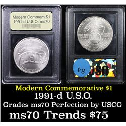 1991-d USO Modern Commem Dollar $1 Graded ms70, Perfection By USCG