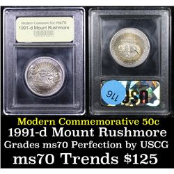 1991-d Mount Rushmore Modern Commem Half Dollar 50c Graded ms70, Perfection By USCG