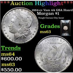 ANACS 1884-cc Vam 4A GSA Hoard Morgan Dollar $1 Graded ms63 By ANACS