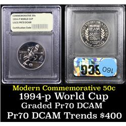 Proof 1994-P World Cup Modern Commem Half Dollar 50c Graded GEM++ Proof Deep Cameo By USCG