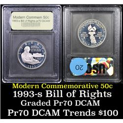 Proof 1993-s Bill of Rights Modern Commem Half Dollar 50c Graded GEM++ Proof Deep Cameo By USCG