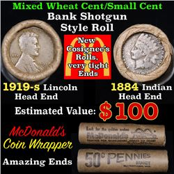 Mixed small cents 1c orig shotgun roll, 1919-s Wheat Cent, 1884 Indian Cent other end, McDonalds Wra