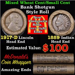Mixed small cents 1c orig shotgun roll, 1917-d Wheat Cent, 1889 Indian Cent other end, McDnalds Wrap