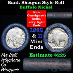 Buffalo Nickel Shotgun Roll in Old Bank Style 'Bell Telephone'  Wrapper 1919 & d Mint Ends Grades