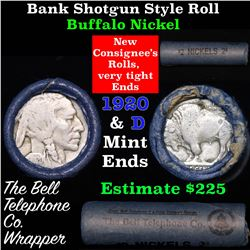 Buffalo Nickel Shotgun Roll in Old Bank Style 'Bell Telephone'  Wrapper 1920 & d Mint Ends Grades