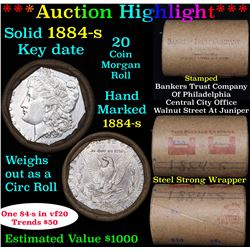 ***Auction Highlight*** Full solid Key date 1884-s Morgan silver dollar roll, 20 coins (fc)