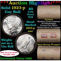 ***Auction Highlight*** Full solid date 1923-p Uncirculated Peace silver dollar roll, 20 coins (fc)