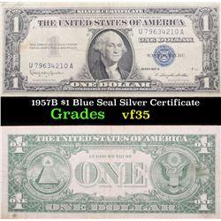 1957B $1 Blue Seal Silver Certificate Grades vf++