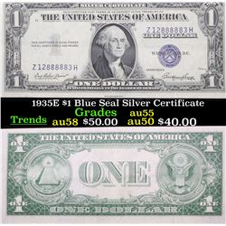 1935E $1 Blue Seal Silver Certificate Grades Choice AU