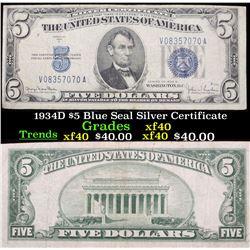 1934D $5 Blue Seal Silver Certificate Grades xf