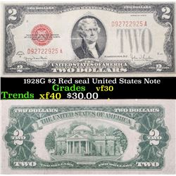 1928G $2 Red seal United States Note Grades vf++