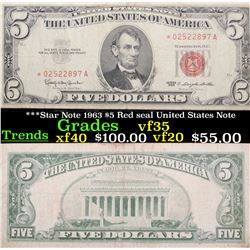 ***Star Note 1963 $5 Red seal United States Note Grades vf++