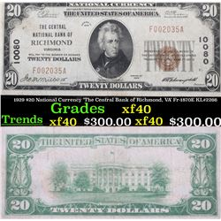 1929 $20 National Currency 'The Central Bank of Richmond, VA' Fr-1870E KL#2266 Grades xf