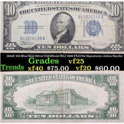 1934C $10 Blue Seal Silver Certificate KL# 1969 FL#1704 Signatures Julian/Snyder Grades vf+