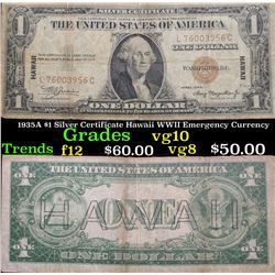 1935A $1 Silver Certificate Hawaii WWII Emergency Currency Grades vg+