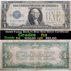 1928D Funny Back $1 Blue Seal Silver Certificate Grades f, fine