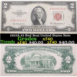 1953A $2 Red Seal United States Note Grades xf
