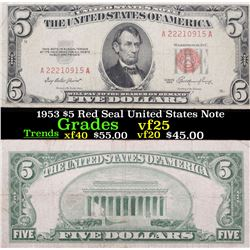1953 $5 Red Seal United States Note Grades vf+