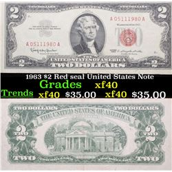 1963 $2 Red seal United States Note Grades xf
