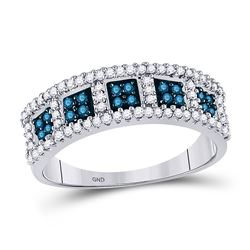 Womens Round Blue Color Enhanced Diamond Band Ring 1/2 Cttw 10kt White Gold - REF-21N5F