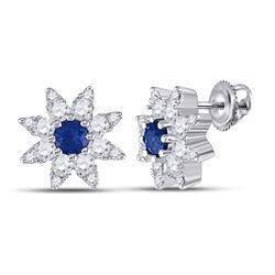 Womens Round Blue Sapphire Diamond Halo Earrings 1/2 Cttw 14kt White Gold - REF-32K5Y
