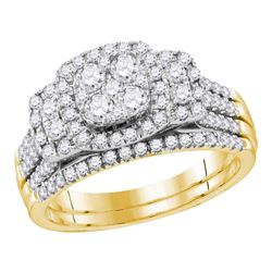 Round Diamond Bridal Wedding Ring Band Set 1 Cttw 14kt Yellow Gold - REF-101R5X